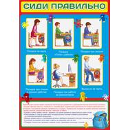 Стенд для начальной школы СИДИ ПРАВИЛЬНО (памятка), 0,7*1м, фото 1