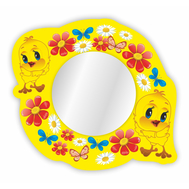 Стенд-зеркало ЦЫПЛЯТА НА ПОЛЯНЕ (желтый фон),590Х540мм, фото 1