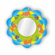 Стенд-зеркало ВЕСЁЛЫЕ КОТЯТА (голубой фон),635Х635мм, фото 1