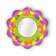 Стенд-зеркало ВЕСЁЛЫЕ КОТЯТА  (сиреневый фон),635Х635мм, фото 1