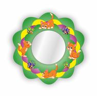 Стенд-зеркало ВЕСЁЛЫЕ КОТЯТА (зеленый фон),635Х635мм, фото 1