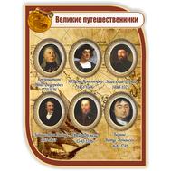 Стенд в кабинет географии ВЕЛИКИЕ ПУТЕШЕСТВЕННИКИ (коричневый) 0,75*1м, фото 1