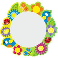 Стенд-зеркало ПТИЧКИ С ЦВЕТАМИ (желто-зеленый фон) 640х600мм, фото 1