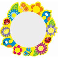 Стенд-зеркало ПТИЧКИ С ЦВЕТАМИ (желтый фон), 480х455мм, фото 1