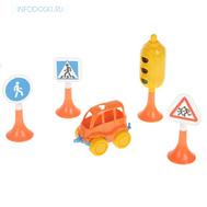 """Набор """"Дорожные знаки"""" №2 светофор, 3 знака, машинка, фото 1"""