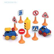 """Набор """"Дорожные знаки"""" №3 светофор, 6 знаков, 2 машинки, фото 1"""