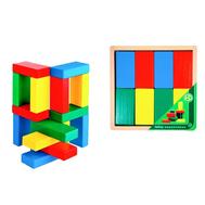 Кирпичики цветные, 16 деталей, в деревянной коробке, фото 1