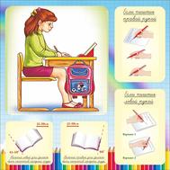 Стенд для начальной школы ПИШИ И СИДИ ПРАВИЛЬНО, 0,5*0,5м, фото 1