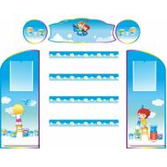 Комплект стендов для детских рисунков ДЕТКИ С КРАСКАМИ, 1,6*1,35м, фото 1