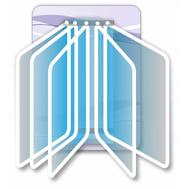 Стенд с перекидной системой на 5 рамок (сиреневый фон), 0,3*0,4м, фото 1