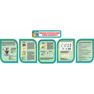 Комплект стендов в кабинет Технологии в сине-зеленом цвете ТОКАРНЫЙ ФРЕЗЕРНЫЙ СТАНОК, 3,96*1,35м, фото 1