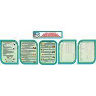 Комплект стендов в кабинет Технологии в сине-зеленом цвете ТЕХНИКА БЕЗОПАСНОСТИ, 3,96*1,35м, фото 1