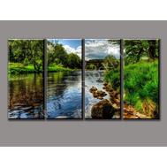 """Четырехмодульная картина (печать на холсте) """"Летняя река"""", фото 1"""