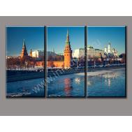 """Трехмодульная картина """"Городская река весной"""", фото 1"""