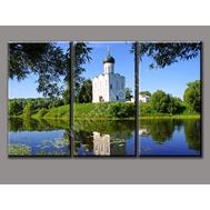 """Трехмодульная картина """"Церковь у реки"""", фото 1"""