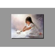 """Картина на подрамнике """"Девочка с котенком"""" (печать на холсте), фото 1"""