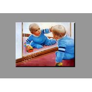 """Картина на подрамнике """"Ребенок с зеркалом"""" (печать на холсте), фото 1"""