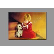 """Картина на подрамнике """"Девочка и щенок"""" (печать на холсте), фото 1"""