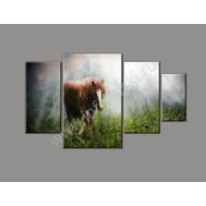 """Четырехмодульная картина на подрамнике """"Одинокая лошадь"""", фото 1"""
