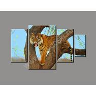 """Четырехмодульная картина на подрамнике """"Тигр"""", фото 1"""
