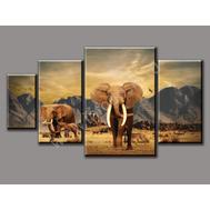 """Четырехмодульная картина на подрамнике """"Слоны"""", фото 1"""