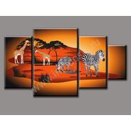 """Четырехмодульная картина на подрамнике """"Животные Африки"""", фото 1"""