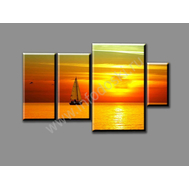 """Четырехмодульная картина """"Закат на море"""", фото 1"""