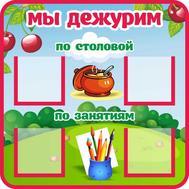 Стенд для детского сада МЫ ДЕЖУРИМ для группы ВИШЕНКИ, 0,4*0,4м, фото 1