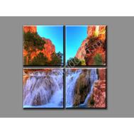 """Четырехмодульная картина """"Горный водопад"""", фото 1"""