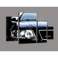 """Четырехмодульная картина """"Черный автомобиль"""", фото 1"""