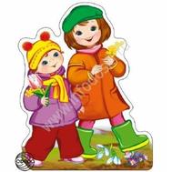 Мини-плакат ДЕТИ С ВЕСЕННИМИ ЦВЕТАМИ ФМ-10330 ВЫРУБКА, фото 1