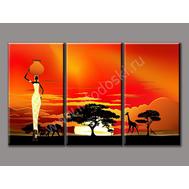 "Трехмодульная картина ""Вечерняя Африка"", фото 1"