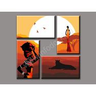"""Четырехмодульная картина """"Жизнь в Африке"""", фото 1"""