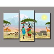"""Трехмодульная картина """"Африканский день"""", фото 1"""