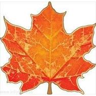 Декоративный элемент на скотче КЛЕНОВЫЙ ЛИСТ (оранж.) А6 87.484, 1шт., фото 1