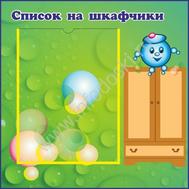 """Стенд """"Список на шкафчики"""", 0,42*0,42м для группы КАПИТОШКА, фото 1"""