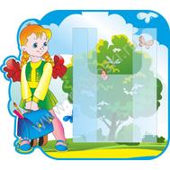 Стенд для рисунков с объемным карманом А4 (школьница), фото 1