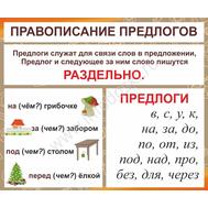 Стенд для школы ПРАВОПИСАНИЕ ПРЕДЛОГОВ, фото 1
