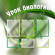 Стенд для каб.биологии УРОК БИОЛОГИИ (зеленый листок) 1*1м, фото 1