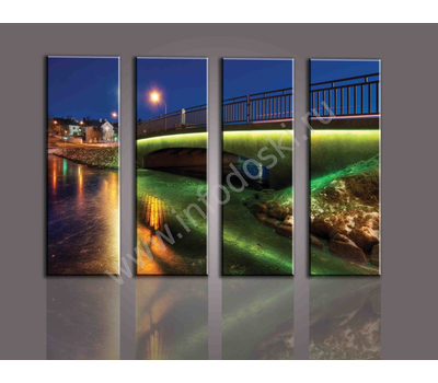 """Четырехмодульная картина """"Освещенный мост"""", фото 3"""