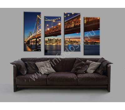 """Четырехмодульная картина """"Мост в ночном городе"""", фото 2"""