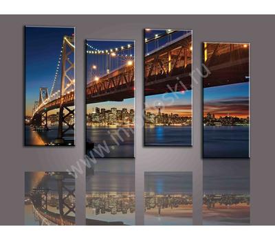 """Четырехмодульная картина """"Мост в ночном городе"""", фото 3"""