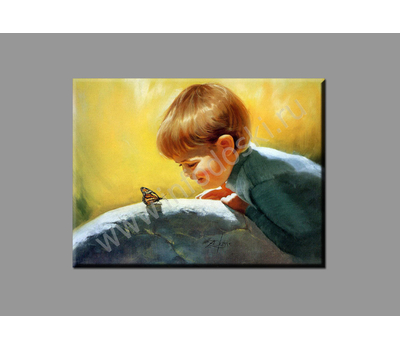 """Картина на подрамнике """"Мальчик с бабочкой"""" (печать на холсте), фото 2"""