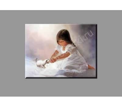 """Картина на подрамнике """"Девочка с котенком"""" (печать на холсте), фото 2"""