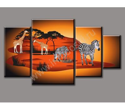 """Четырехмодульная картина на подрамнике """"Животные Африки"""", фото 3"""