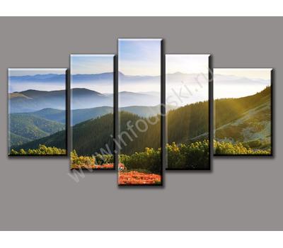 """Пятимодульная картина """"Утро в горах"""", фото 3"""