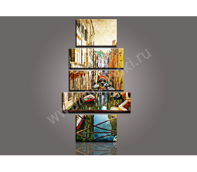 """Пятимодульная картина """"Узкая речная улица"""", фото 2"""