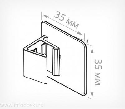 Клипса для крепления рамок больших форматов под углом 0° к поверхности, фото 3