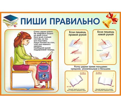 Стенд для школы ПИШИ ПРАВИЛЬНО, 0,65*0,45м, фото 1