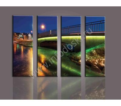"""Четырехмодульная картина """"Освещенный мост"""", фото 1"""